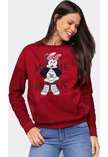 Blusa Moletom Cativa Disney Minnie Feminina - Feminino-Vinho