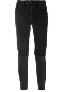 Helmut Lang Calça Jeans Cropped Com Patchwork - Preto