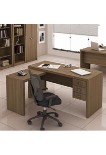 Mesa Para Escritório 3 Gavetas Me4106 Amendoa - Tecno Mobili