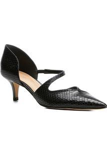 Scarpin Shoestock Salto Baixo Snake - Feminino-Preto