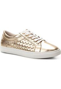 Tênis Couro Shoestock Trançado Feminino - Feminino-Dourado