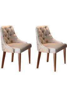 Conjunto Com 2 Cadeiras De Jantar Belíssima Imbuia E Bege