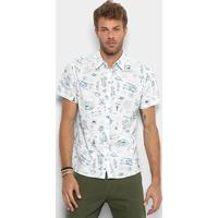 b12f09a17 Camisa Colcci Estampada Masculina - Masculino-Azul+Branco