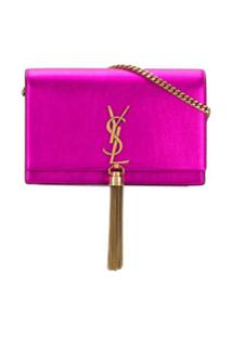 Saint Laurent Carteira Kate Com Corente - Rosa