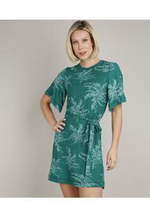 Vestido Feminino Curto Estampado De Folhagem Com Faixa Para Amarrar Manga Curta Verde