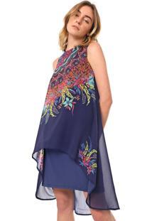 Vestido Desigual Curto Adri Azul-Marinho