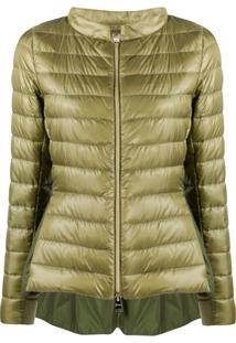 Herno Funnel-Neck Quilted-Down Jacket - Verde