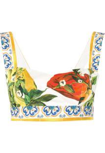 Dolce & Gabbana Blusa Cropped 'Pepperoni' - Branco