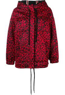 Nº21 Jaqueta Com Capuz E Estampa De Leopardo - Vermelho