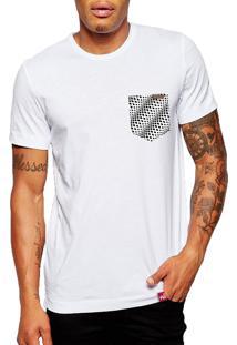 Camiseta Wevans Bolso Aplique Geométrico 34 Branco
