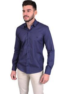 Camisa Off Wear Manga Longa Xadrez Azul-Marinho