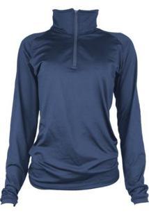Camisa Térmica Feminina Segunda Pele Meio Zíper Thermo Premium - Feminino-Azul+Marinho