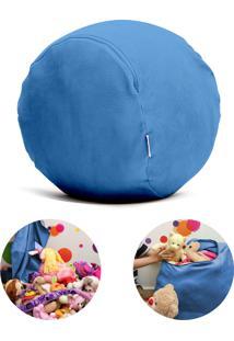 Puff Organizador Quartinhos Infantil Para Bichos De Pelúcia Azul Claro