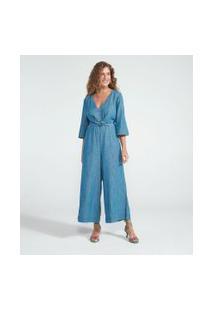Macacão Pantacourt Jeans Liso Com Amarração | Marfinno | Azul | M