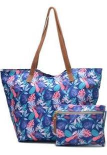 Bolsa Sacola Com Necessaire De Tecido Impermeável Com Ziper Flor Zabath Feminina - Feminino-Azul