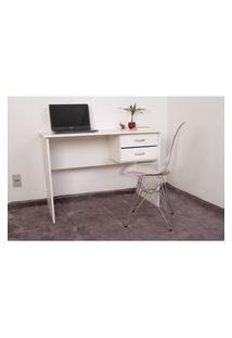 Kit Escrivaninha Com Gaveteiro Branca + 01 Cadeira Eiffel Base Metal - Transparente