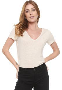 Camiseta Forum Listras Lurex Off-White/Dourada