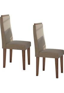 Conjunto 2 Cadeiras Dafne Imbuia Naturale/Suede Animale Bege