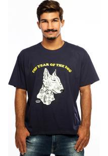 Camiseta Hardivision The Dog Manga Curta - Masculino-Marinho