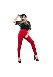 Calça Social Bengaline Com Cinto Old Skinny Vermelha