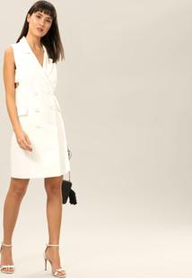 Vestido Com Botões Branco Off White - Lez A Lez