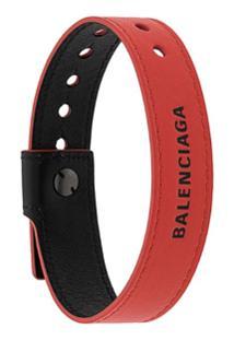 Balenciaga Pulseira De Couro Com Logo - Vermelho
