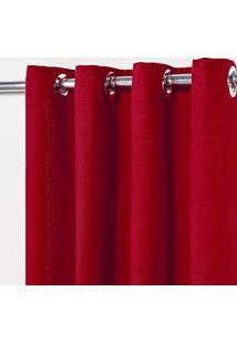 Cortina Rãºstica Lisa 2,80 M X 2,30 M - Vermelho - Multicolorido - Dafiti