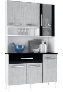 Armário Cozinha Cancun Branco/Gelo/Preto 6 Portas 1 Gavetão - Incorplac