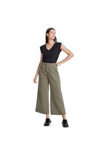 Calça Hering Wide Leg Em Sarja De Algodão Verde