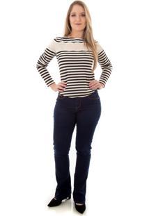 Blusa Via Costeira Listrada Com Renda Feminina Zebra