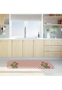 Tapete De Cozinha Mdecore Cactos Rosa 40X120Cm