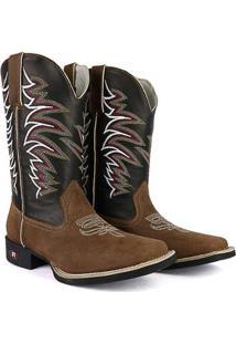 Bota Couro Texana Sapatofran Tribal Bico Quadrado Masculina - Masculino-Marrom