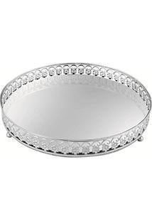 Bandeja Em Metal Com Espelho, Moas, Prata, 4 X 17 X 17 Cm