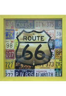 Quadro Porta Tickets 27X27Cm Route 66-Kapos - Amarelo