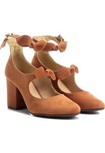 Sapato Azaleia Salto Estruturado E Laços - Feminino-Caramelo