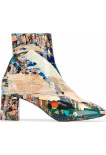 Comme Des Garçons Ankle Boot Com Estampa De Foto - Azul