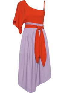 Vestido Tiula Africa Bicolor - Vermelho