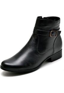 Bota Couro Country Cano Curto Jna Shoes Feminina - Feminino-Preto