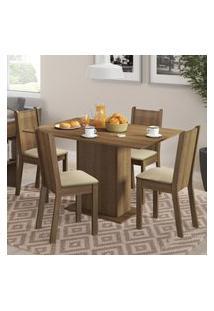 Conjunto Sala De Jantar Lexy Madesa Mesa Tampo De Madeira Com 4 Cadeiras - Rustic/Pérola Marrom