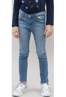 Calça Jeans Infantil Com Paetê Furta Cor E Puídos Jeans Médio