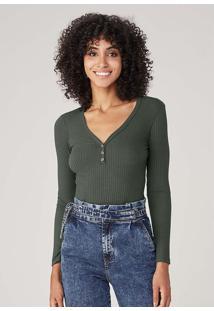 Blusa Básica Em Malha Canelada - Verde