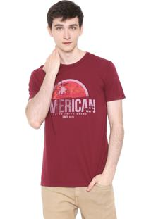 Camiseta Calvin Klein Jeans American Bordô