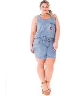 Regata Confidencial Extra Plus Size Jeans Com Patch Feminina - Feminino-Azul Claro