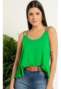 Blusa Verde Folha Com Alças Duplas