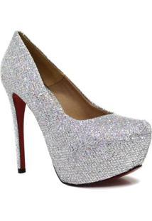 Scarpin Zariff Shoes Pump Glitter - Feminino-Cinza