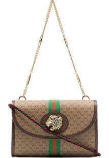 Gucci Beige Rajah Supreme Mini Gg Print Canvas Leather Trim Shoulder Bag - Neutro