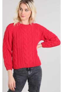 Suéter Feminino Em Tricô Decote Redondo Vermelho