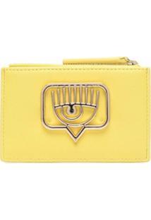 Chiara Ferragni Carteira Eyelike Com Placa De Logo - Amarelo