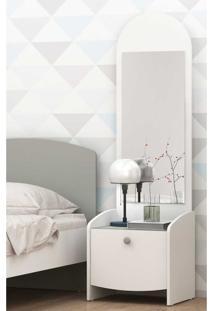 Mesa De Cabeceira 100% Mdf Com 1 Gaveta E Espelho Doçura Multimóveis Branco/Cinza/Branco