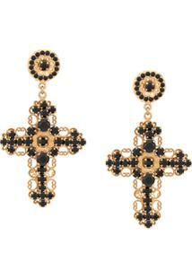 Dolce & Gabbana Par De Brincos De Crucifixo - Preto